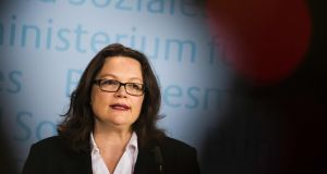 Social Democrat (SPD) labour minister Andrea Nahles is sponsoring  a Bill that strips non-German EU citizens of all claims on the German welfare system in their first five years, unless they have acquired credits by working. Photograph:  Odd Andersen/AFP/Getty Images