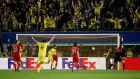 Adrian Lopez celebrates his late winner. Photograph: Reuters