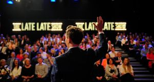 Ryan Tubridy emerges to huge applause, for the Late Late Show April 23rd, 2016. All photographs by Aidan Crawley
