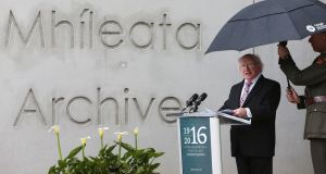President Michael D Higgins  opens the the new Military Archives building. Photograph: Brian Lawless/PA Wire