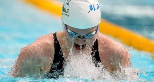 Mona McSharry in action during  the Swim Ireland Irish Open  Championships at the  National Aquatic Centre in Dublin. Photograph:  Ryan Byrne/Inpho