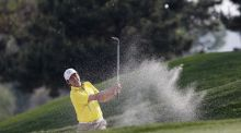 Felipe Aguilar of Chile plays a bunker shot during the third round of the Volvo China Open at Topwin Golf and Country Club  in Beijing. Photograph: Lintao Zhang/Getty Images