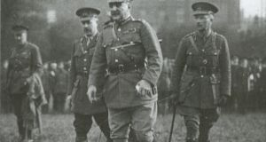 Gen John Maxwell and his entourage inspect British troops after the Rising.