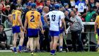 Clare manager Davy Fitzgerald trades some strong words with Derek McGrath of Waterford during the Allianz Hurling League final at Semple Stadium. Photo: Donall Farmer/Inpho