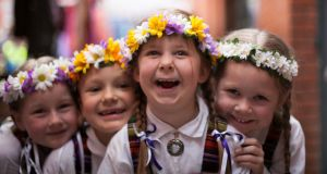 LATVIAN CULTURE DAY: Members of Latvian folk dance group Butterflies Limerick during Latvian Culture Day in Meeting House Square, Dublin. Photograph: Gareth Chaney/Collins