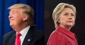 Donald Trump and Hillary Clinton: on some foreign policy issues, it's Hillary the Hawk against Donald the Quasi-Dove. Photographs: Damon Winter/Zach Gibson/The New York Times