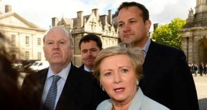 Fine Gael party members Frances Fitzgerald, Leo Varadkar, Michael Noonan and Paschal Donohoe in Trinity College Dublin. Photograph: Cyril Byrne/The Irish Times