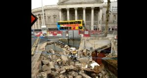 The remains of the toilets at College Green with Bank of Ireland in the background. Photograph: Cyril Byrne/The Irish Times
