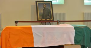 File photo: The remains of Commandant Thomas Kent lying in state at St. Michael's Garrison church, Collins Barracks before a state funeral on Friday 18th September.  Photograph: Alan Betson / The Irish Times