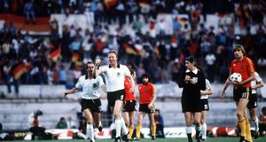 West Germany's Horst Hrubesch celebrates after scoring the winning goal in the Euro 1980 final. Photo: Bob Thomas/Getty Images
