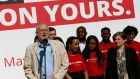 Jeremy Corbyn unveils his party's latest poster campaign in London yesterday, ahead of the local elections. Photograph: Stefan Wermuth/Reuters