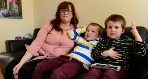 Elaine Hanrahan with her sons, Noah and Daragh. Photograph: Cyril Byrne