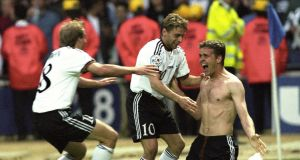 Oliver Bierhoff celebrates scoring the golden goal against the Czech Republic in the final of Euro '96 at Wembley. Photo: Getty Images