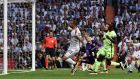 Real Madrid's Gareth Bale scores in their Champions League semi-final clash with Manchester City at the Bernabeu. Photo: Gerard Julien/Getty Images