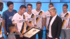 Robbie Keane surprises a young fan on the Ellen Show