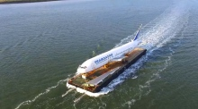 You're not seeing things: a Boeing 767 on a barge on the Shannon
