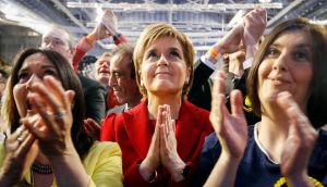 SNP leader Nicola Sturgeon reacts as results come in at a Scottish Parliament election count at the Emirates Arena in Glasgow, Scotland. Photograph: Danny Lawson/PA Wire