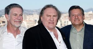 Netflix cofounder Reed Hastings, star of 'Marseilles' Gerard Depardieu and Netflix chief content officer Ted Sarandos