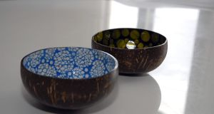 Elizabeth Francis's   painted and enamelled bowls made from coconut husks she got at last year's Expo Milan