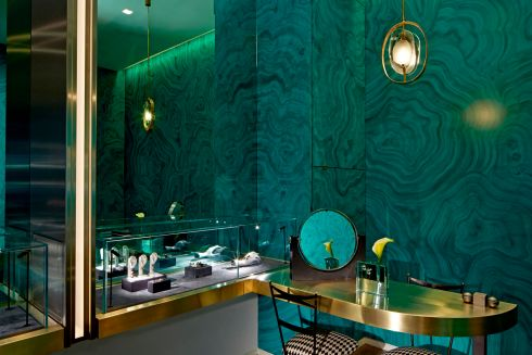 This bijou box by Rafael de Cardenas for the recently opened London store of jeweller Delfina Delettrez Fendi, one of the Fendi fashion dynasty, has faux leather malachite walls and brass display cases. De Cardenas, a New York-based designer and architect, and principal of Architecture at Large, has worked for Cartier and Nike but began his career in fashion, working for Calvin Klein before moving into production design.  Photograph: Mark Cocksedge </br> architectureatlarge.com delfinadelettrez.com