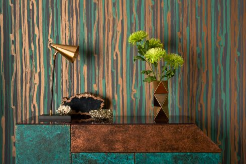 Cole & Son's Strand wallpaper has a striking seawashed pattern of vertical brush-marked ribbons of gleaming gilver, a blend of gold and silver, and with jade green printed on to a coal-black base. It creates a luxurious finish that works with fine wood and fashion furniture. It costs about €108. For stockists, contact Furnishing Distributors, in Bray. It can also be ordered online from London-based Kensington Design.  <br> cole-and-son.com  furnishing.ie kensingtondesign.com