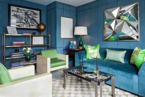 Blue and green should never be seen is an old decorating trope that New York-based Brian del Toro has blown out of the water with this marine blue wall colour and sofa, which contrast with the yellow-hued peridot green of the chair cushions and backs. Designed for the Kips Bay Decorator Showhouse a couple of years ago, the marriage remains fresh and is an easy and relatively affordable way to refresh a room in on-trend colours.  <br> briandeltoro.com