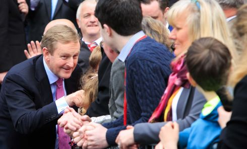 Enda Kenny outside Leinster House following his elction as Taoiseach. Photograph: Gareth Chaney/Collins