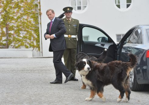 Taoiseach Enda Kenny arrives to receive  his seal of office from President Michael D Higgins at Áras an Uachtaráin. Photograph: Alan Betson