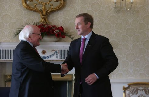 The Taoiseach meets the President. Photograph: Brian Lawless/PA Wire