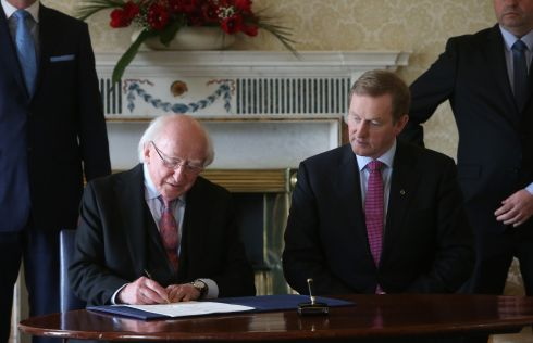 President Michael D Higgins with newly elected Taoiseach Enda Kenny at Áras an Uachtaráin. Photograph: Brian Lawless/PA Wire