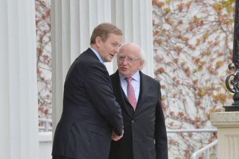 Enda Kenny leaves Áras an Uachtaráin after receiving  his seal of office. Photograph: Alan Betson / The Irish Times