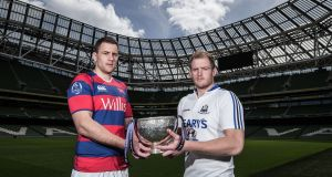 Clontarf captain Ben Reilly and Cork Constitution captain James Ryan with the trophy ahead of the All-Ireland League final. Photograph: Inpho