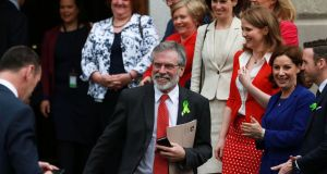 "Gerry Adams  tried to inject some humour as the Dáil waited. ""I look around and I think: Where are the Endapendents?"" ""Where's Shergar?"" shot back Fine Gael's Brendan Griffin. Photograph: Nick Bradshaw"