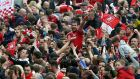 Goalscorer Cristhian Stuani celebrates on the shoulders of Middlesbrough fans after the Sky Bet Championship matc at the Riverside Stadium. Photograph: Nigel Roddis/Getty Images