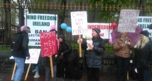 A public protest against  ECT in Cork on Saturday. Photograph: MindFreedom Ireland