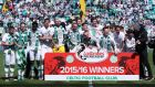 Celtic celebrate their fifth consecutive league title. Photograph: Getty