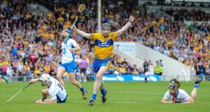 Clare's Tony Kelly celebrates scoring a goal during the Allianz Hurling League Division One final replay at Semple Stadium in Thurles. Photograph:  Cathal Noonan/Inpho