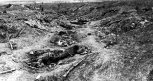 Scene in one of the German trenches in Guillemont during the Battle of the Somme. Photograph: Popperfoto/Getty Images