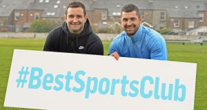 The 'Irish Times' Best Sports Club in Ireland competition invites sports clubs of all categories to enter, at  www.irishtimes.com/bestsportsclub. Pictured at the launch of the competitoin are National Dairy Council brand ambassadors Dave and Rob Kearney. Photograph: Eric Luke