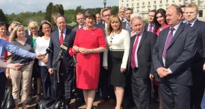 Arlene Foster and her Assembly team outside Stormont. The 108-member Northern Assembly is due to meet on Thursday to re-elect Foster  First Minister and Martin McGuinness Deputy First Minister. Photograph: David Young/PA Wire