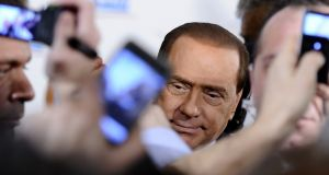 "Enduring  irony: Silvio Berlusconi has managed to turn the forthcoming mayoral contest in Rome on its head, causing problems for his centre-right ""rivals"" and potentially doing favours to his centre-left ""allies"". Photograph: Filippo Monteforte/AFP/Getty Images"