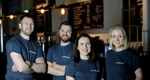 Brewers: Jason Carroll (second from left), with Peter Simpson, Fedora Heavey and Aisling Ryan at Guinness's experimental Open Gate Brewery at St James's Gate in Dublin. Photograph: Maxwells