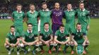Back row left-right) Republic of Ireland's James McCarthy, Jonathan Walters, Daryl Murphy, Darren Randolph, Ciaran Clark, Richard Keogh, (Bottom Row L - R) Wes Hoolahan, Robert Brady, Jeff Hendrick, Seamus Coleman and Glenn Whelan pose for a team group photo during the UEFA Euro 2016 Qualifying Playoff second leg at the Aviva Stadium. Photograph: Martin Rickett/PA