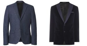 David Beckham at H&M, €69.99; Velvet jacket €480 Hugo Boss