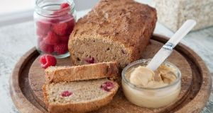 Raspberry and peanut butter oat bread.