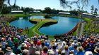 The famous par three 17th on the Stadium course at TPC Sawgrass in Ponte Vedra Beach, Florida. Photo:  Mike Ehrmann/Getty Images
