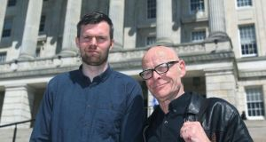 Newly elected People Before Profit MLAs Gerry Carroll (left) and Eamonn McCann outside  Stormont. Photograph: Brian Lawless/PA
