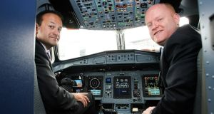 Then minister for transport, tourism and sport Leo Varadkar with former Stobart Air chief Seán Brogan in 2013. Photograph: Maxwells
