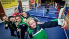 Christina Desmond takes a selfie of member of   IABA High Performance squad including Ceire Smith, Grainne Walsh, Michaela Walsh, Kelly Harrington and  Katie Taylor. Photograph: Morgan Treacy/Inpho