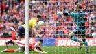 Callum O'Dowda of Oxford United scores during the Johnstone's Paint Trophy Final match against Barnsley at Wembley Stadium. Photograph: Tom Dulat/Getty Images